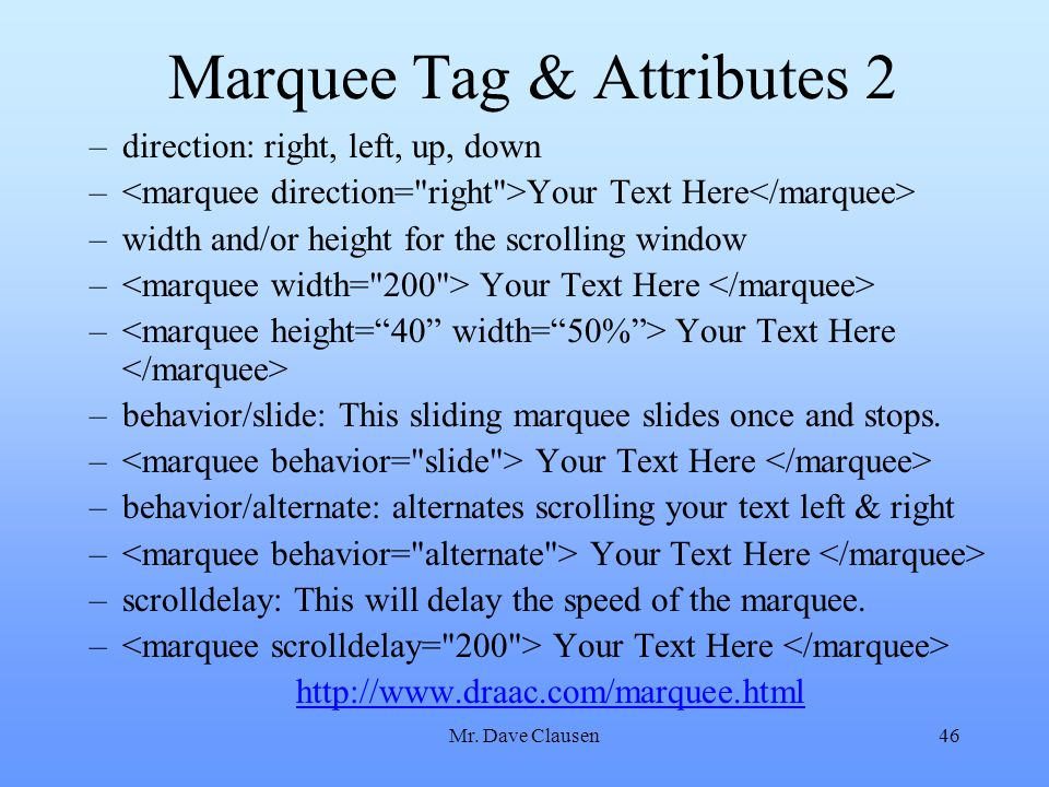 Marquee Tag & Attributes 2