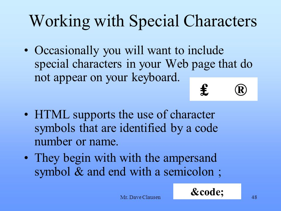 Working with Special Characters