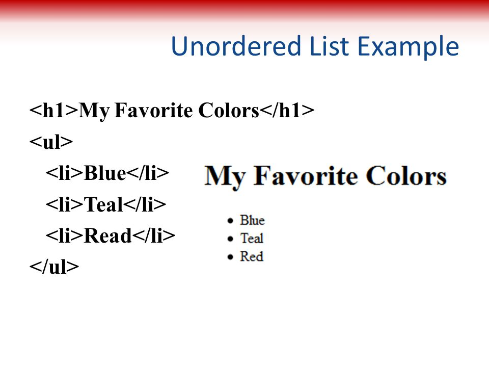 Unordered List Example