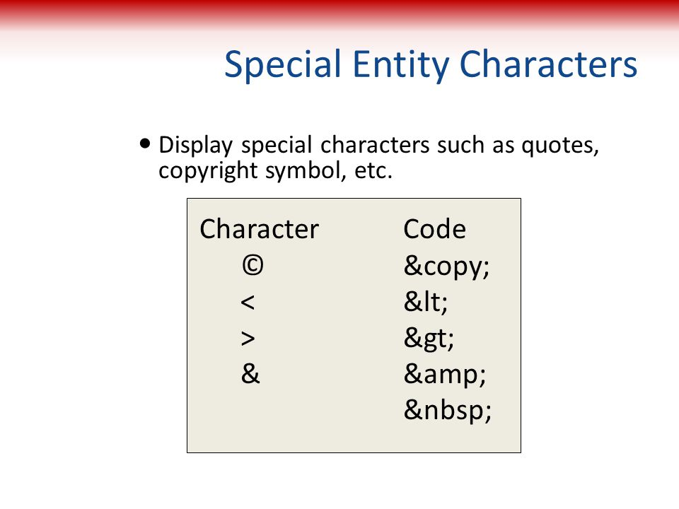 Special Entity Characters