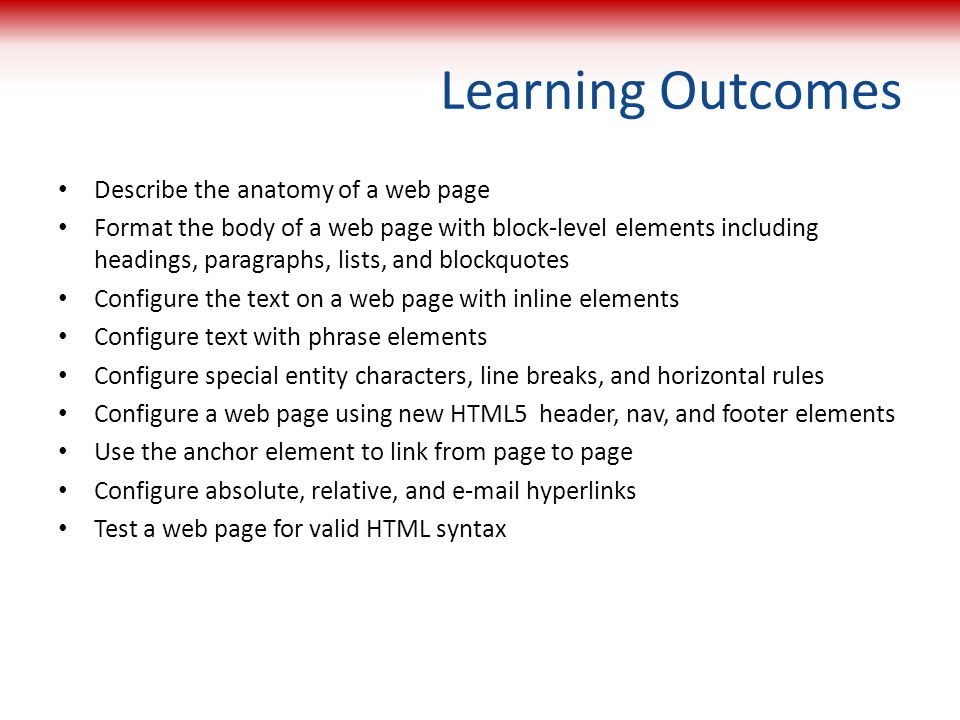 Learning Outcomes Describe the anatomy of a web page