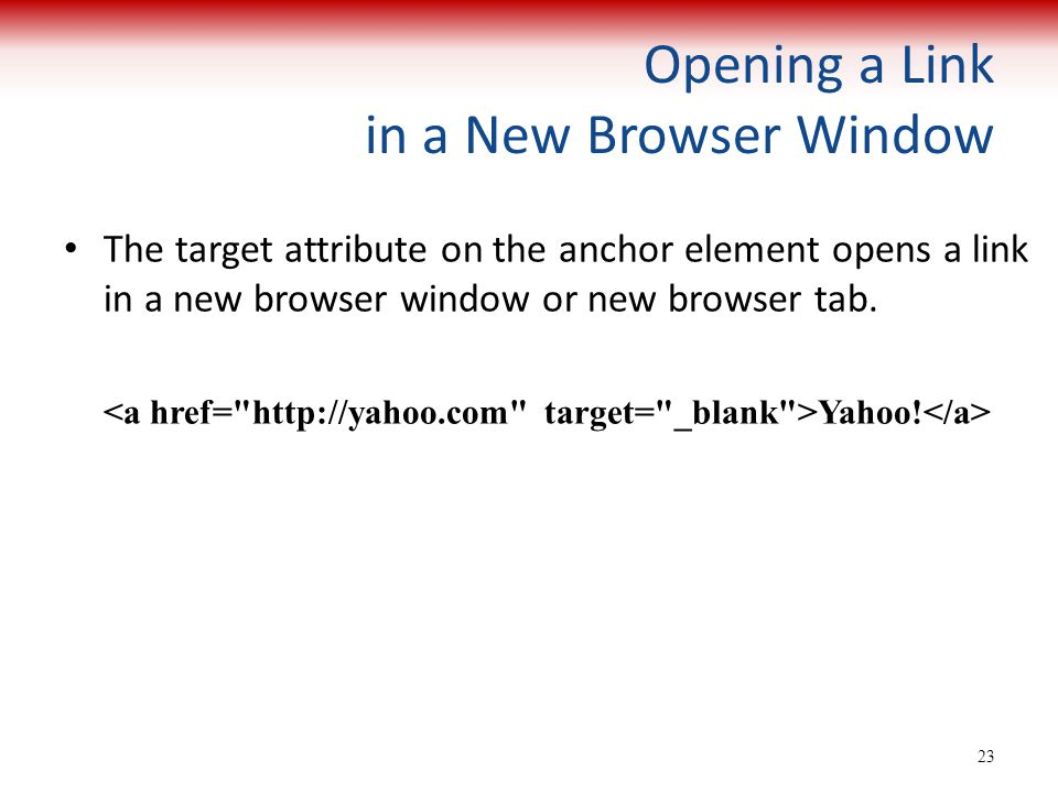 Opening a Link in a New Browser Window
