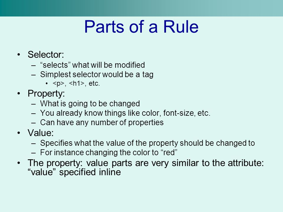 Parts of a Rule Selector: Property: Value: