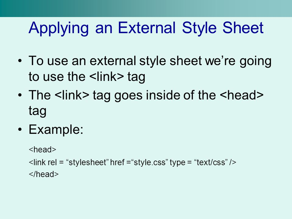 Applying an External Style Sheet