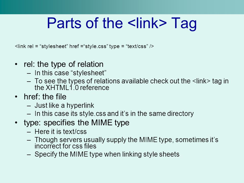 Parts of the <link> Tag