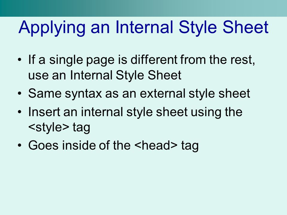 Applying an Internal Style Sheet