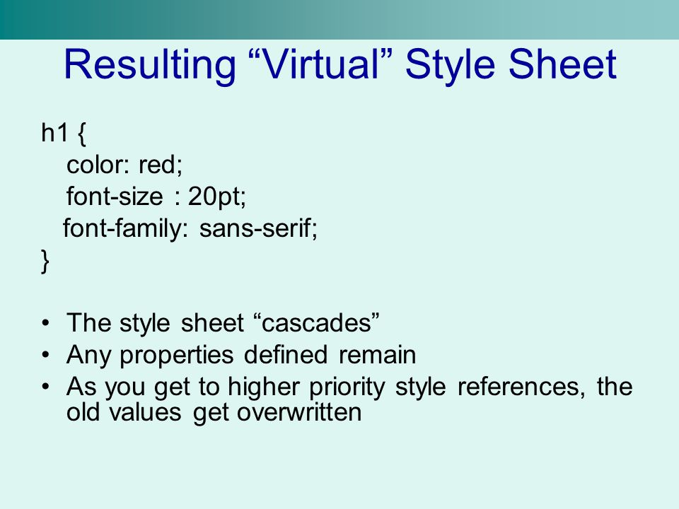 Resulting Virtual Style Sheet