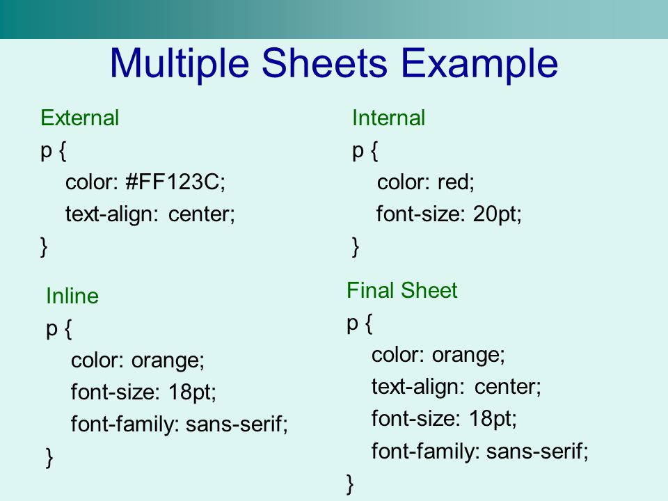 Multiple Sheets Example