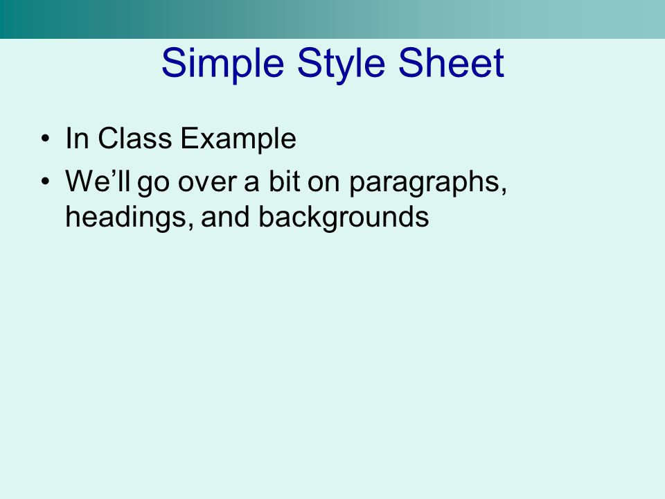 Simple Style Sheet In Class Example