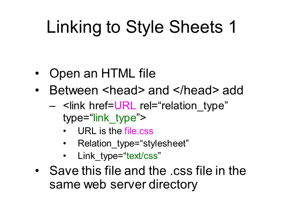 Linking to Style Sheets 1