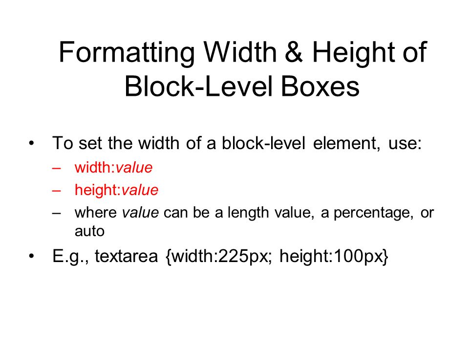 Formatting Width & Height of Block-Level Boxes