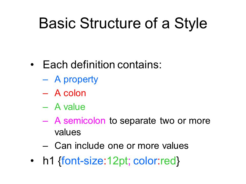 Basic Structure of a Style