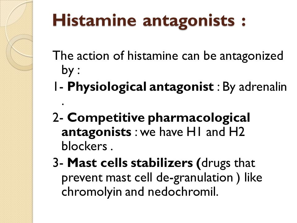 Histamine antagonists :