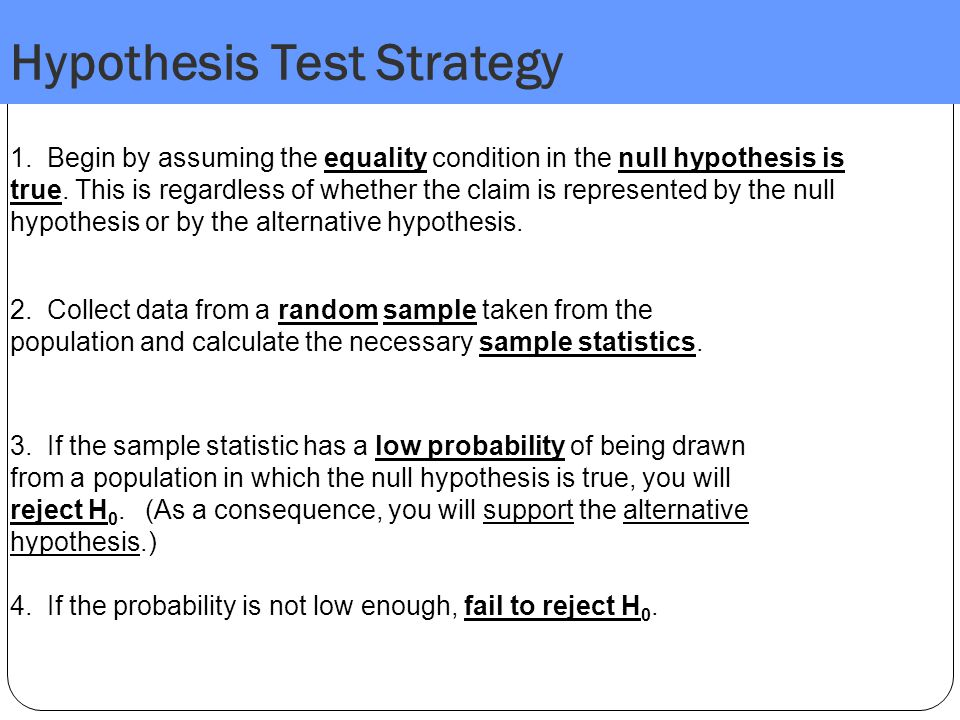 Hypothesis Test Strategy
