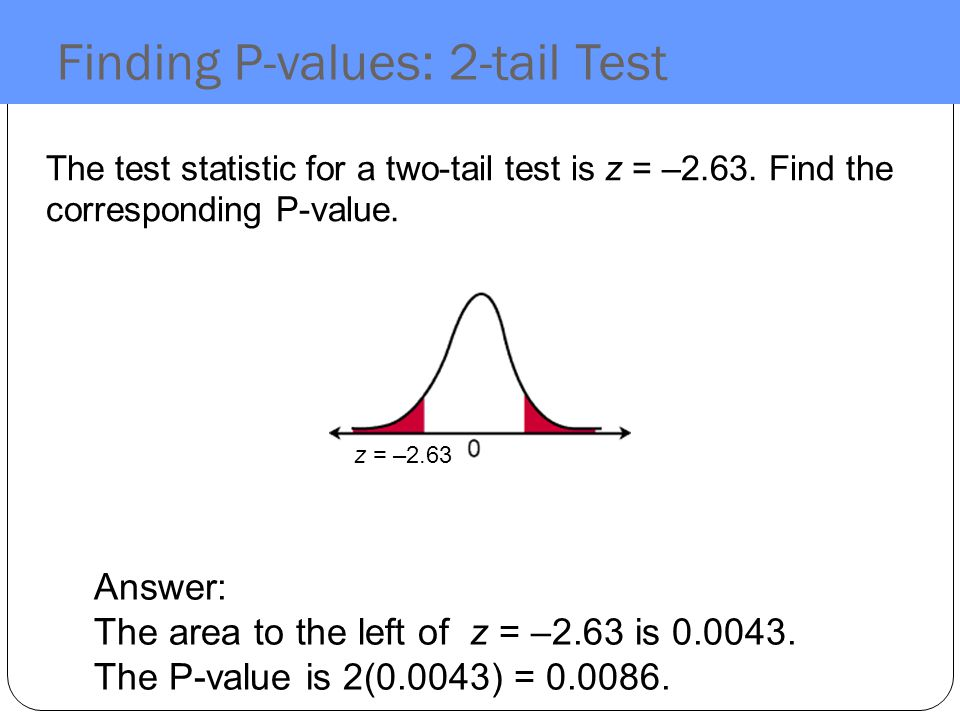 Finding P-values: 2-tail Test