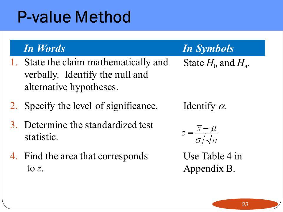 P-value Method In Words In Symbols