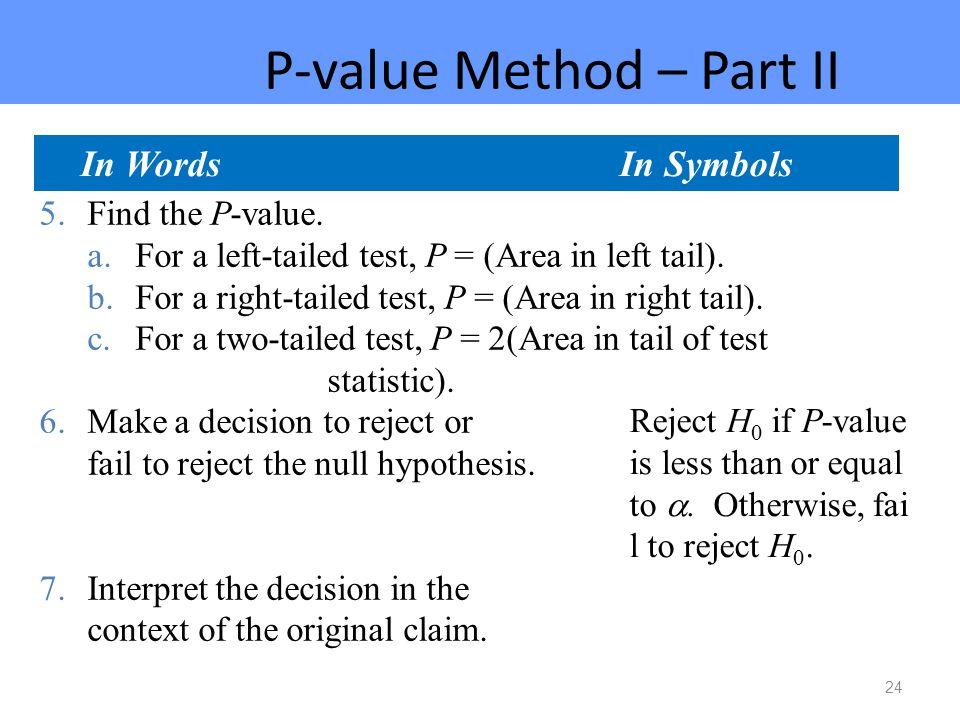 P-value Method – Part II