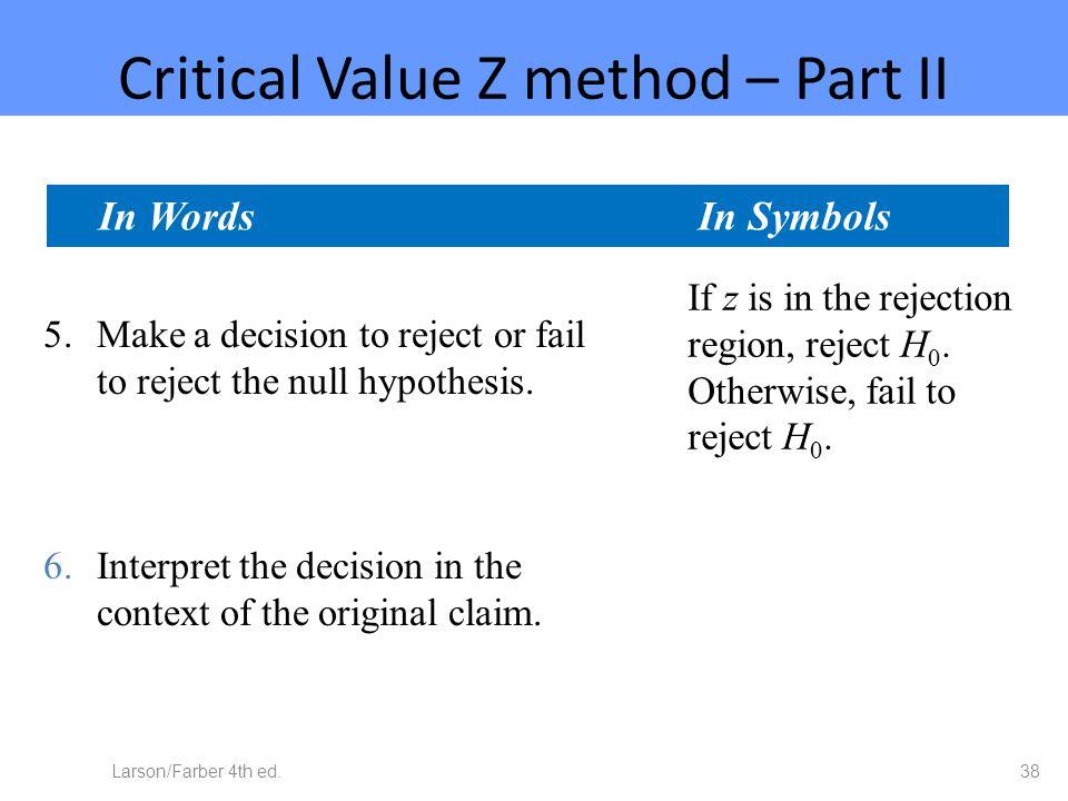 Critical Value Z method – Part II