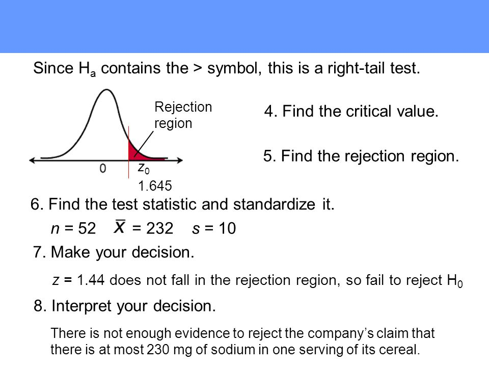 5. Find the rejection region.
