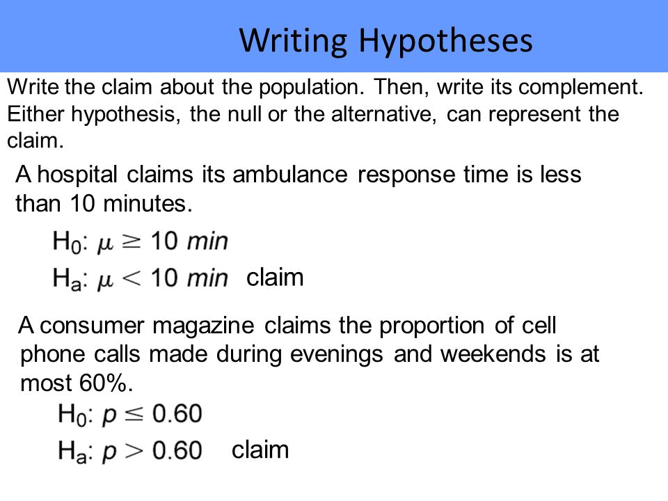 Writing Hypotheses claim claim