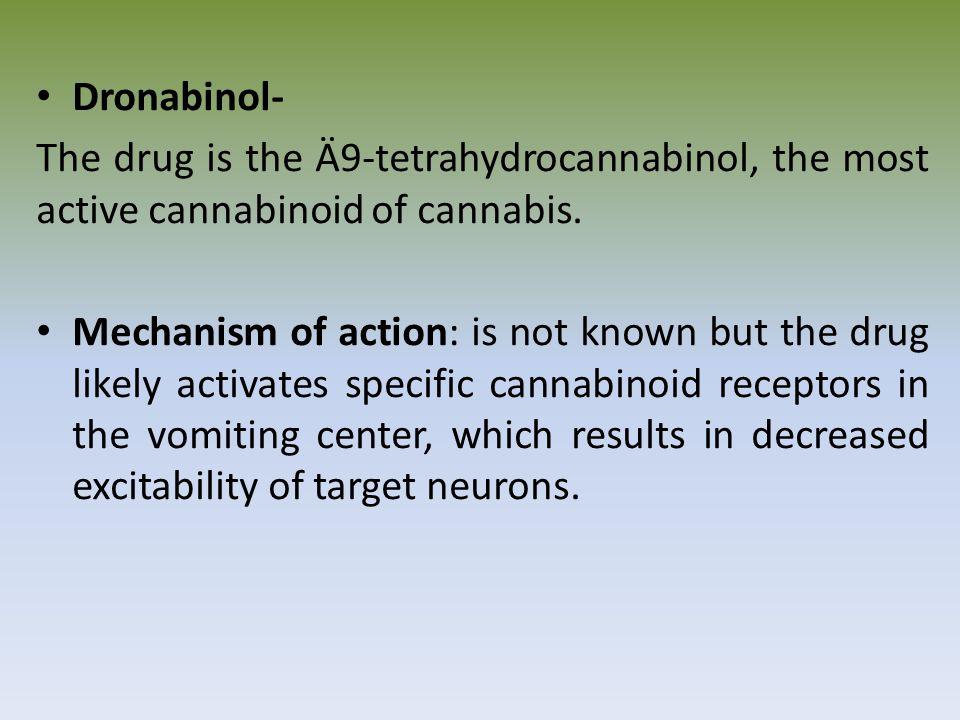 Dronabinol- The drug is the Ä9-tetrahydrocannabinol, the most active cannabinoid of cannabis.