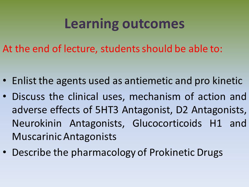 Learning outcomes At the end of lecture, students should be able to: