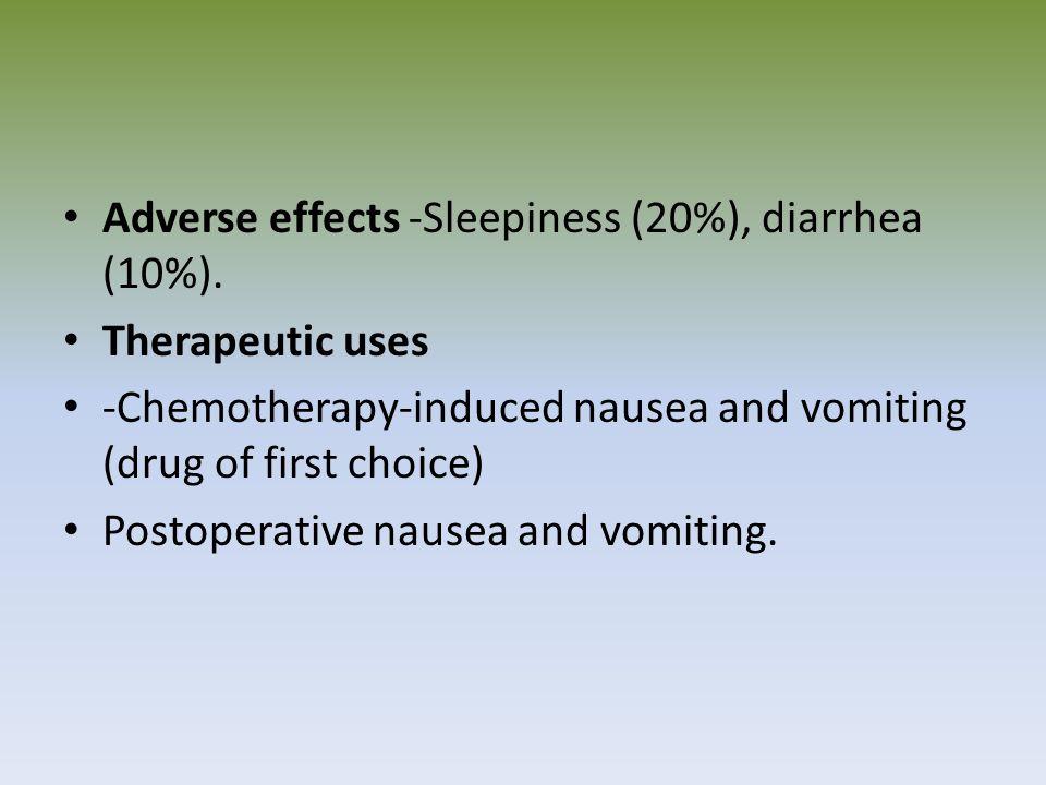 Adverse effects -Sleepiness (20%), diarrhea (10%).