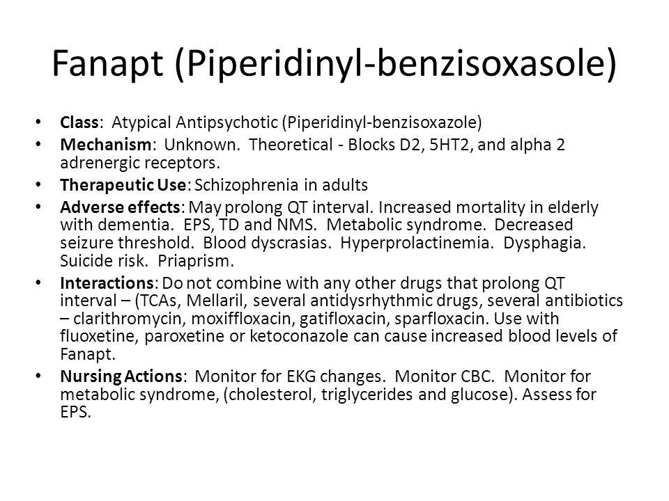 Fanapt (Piperidinyl-benzisoxasole)