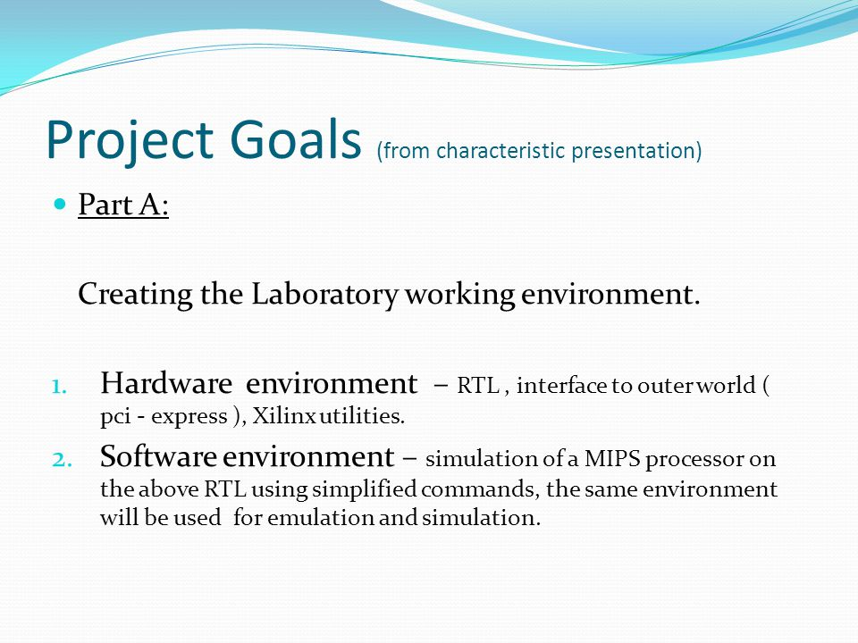 Project Goals (from characteristic presentation)