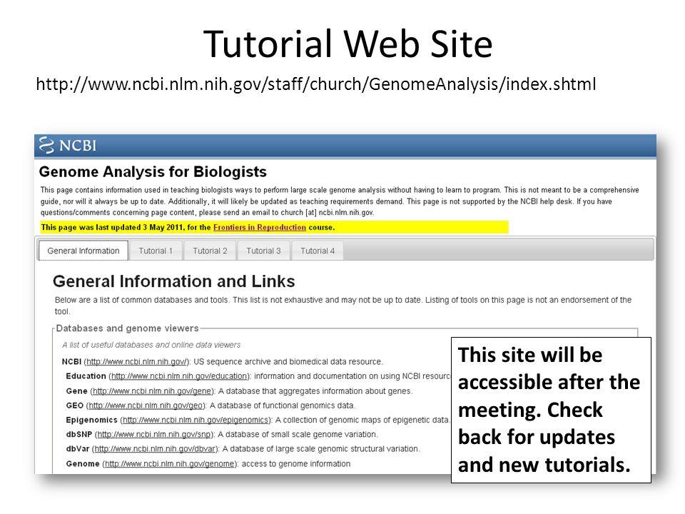 Tutorial Web Site http://www.ncbi.nlm.nih.gov/staff/church/GenomeAnalysis/index.shtml.