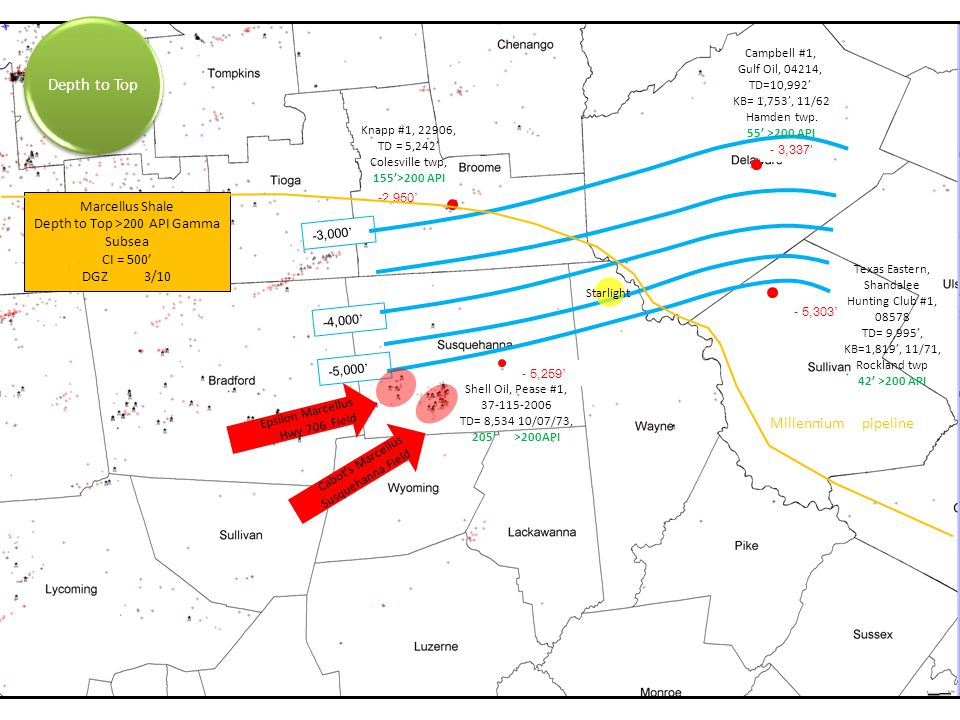 Depth to Top Millennium pipeline Marcellus Shale