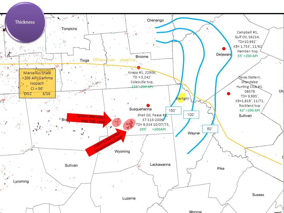 Thickness Millennium pipeline Marcellus Shale >200 API Gamma