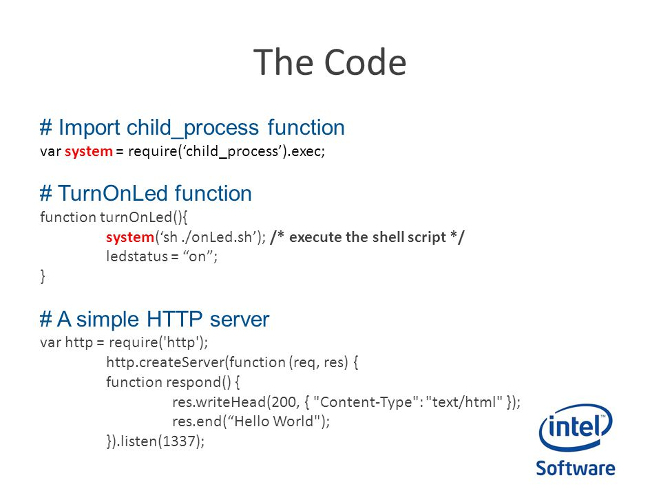 The Code # Import child_process function # TurnOnLed function