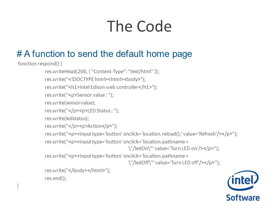 The Code # A function to send the default home page