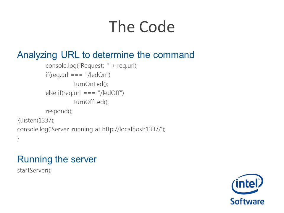 The Code Analyzing URL to determine the command Running the server