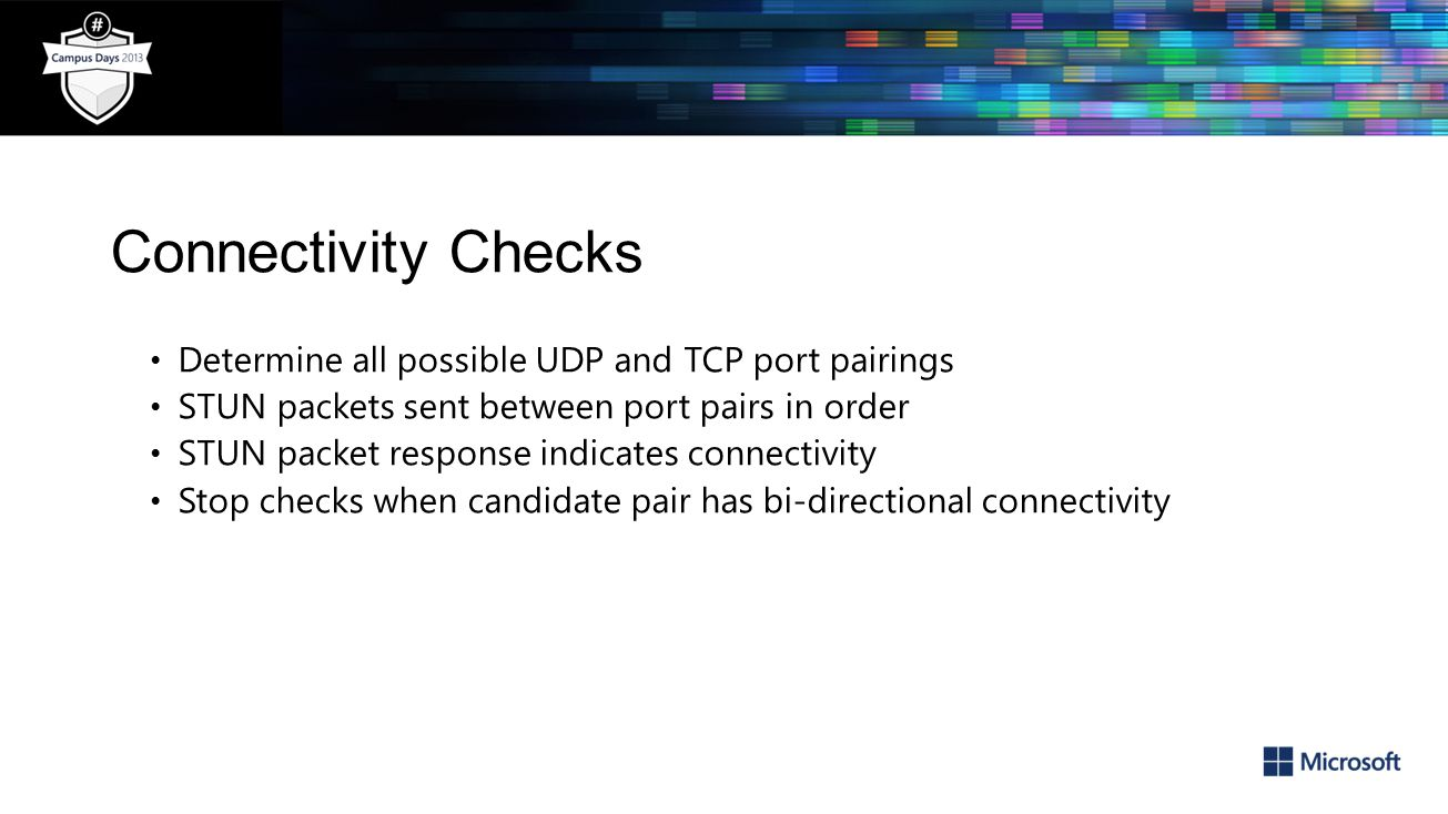Connectivity Checks Determine all possible UDP and TCP port pairings
