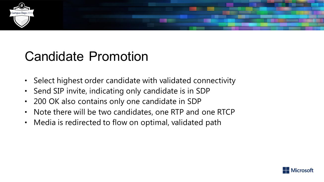Candidate Promotion Select highest order candidate with validated connectivity. Send SIP invite, indicating only candidate is in SDP.