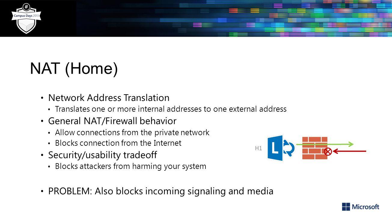 NAT (Home) Network Address Translation General NAT/Firewall behavior