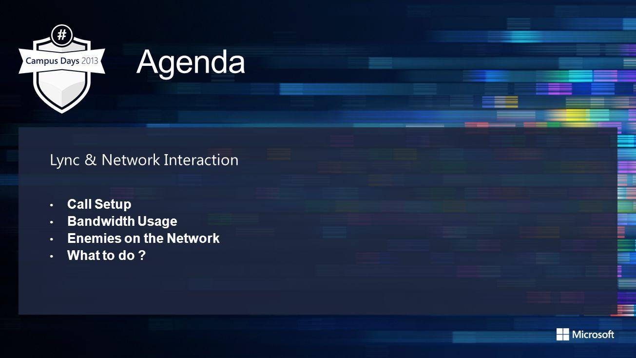 Agenda Lync & Network Interaction Call Setup Bandwidth Usage