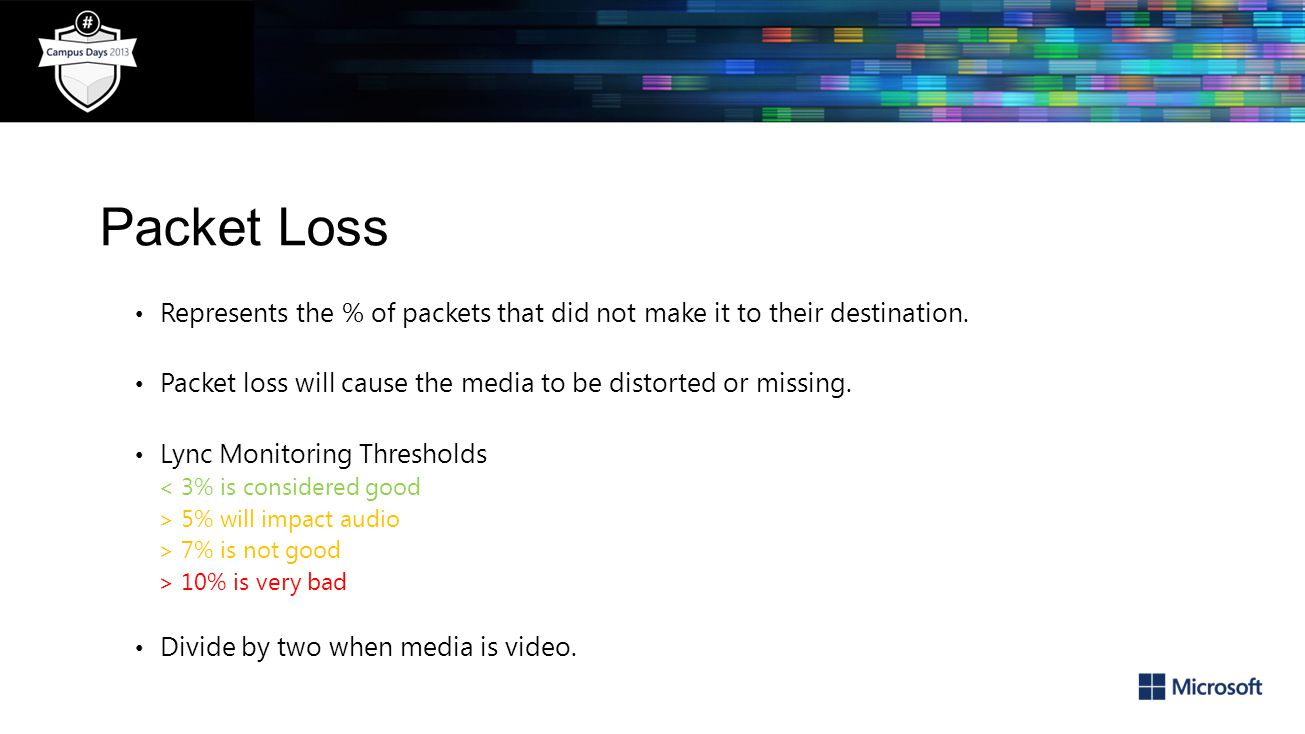 Packet Loss Represents the % of packets that did not make it to their destination. Packet loss will cause the media to be distorted or missing.