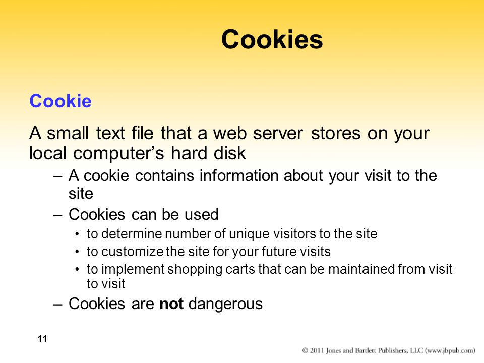 Cookies Cookie. A small text file that a web server stores on your local computer's hard disk.