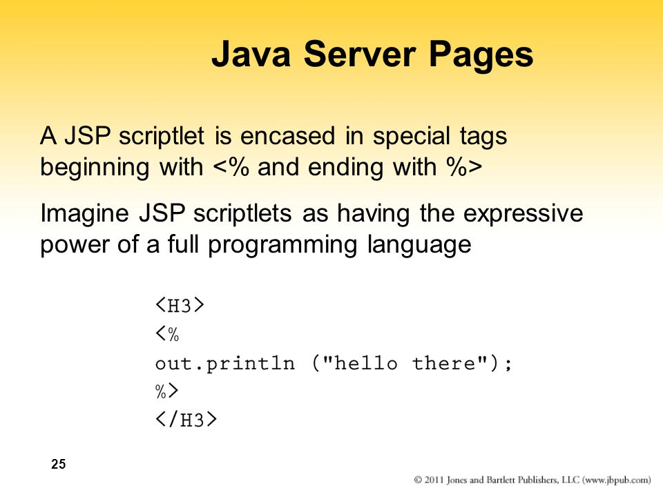 Java Server Pages A JSP scriptlet is encased in special tags beginning with <% and ending with %>