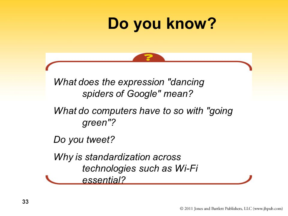 Do you know What does the expression dancing spiders of Google mean What do computers have to so with going green