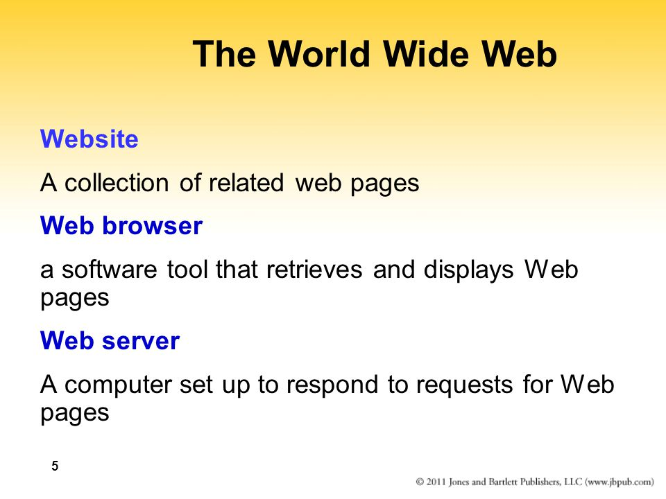The World Wide Web Website A collection of related web pages