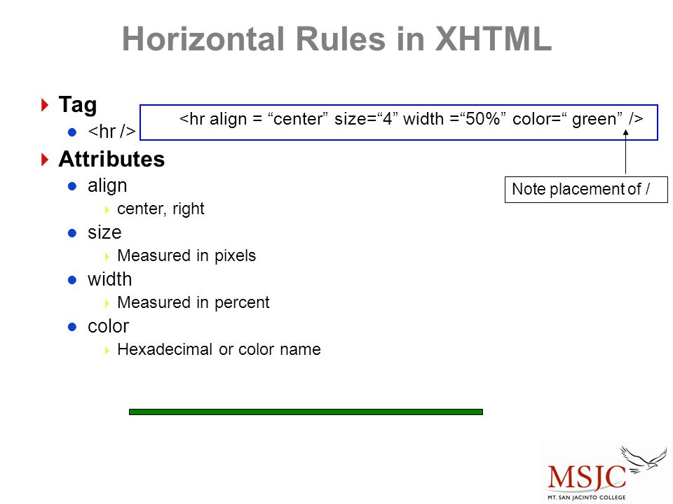 Horizontal Rules in XHTML