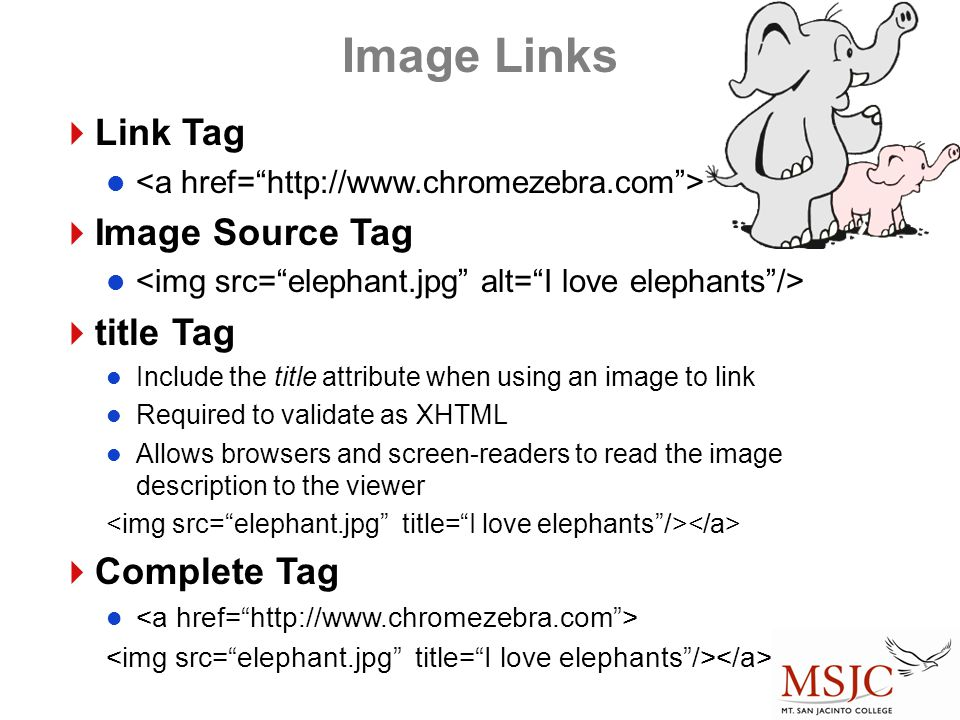 Image Links Link Tag Image Source Tag title Tag Complete Tag