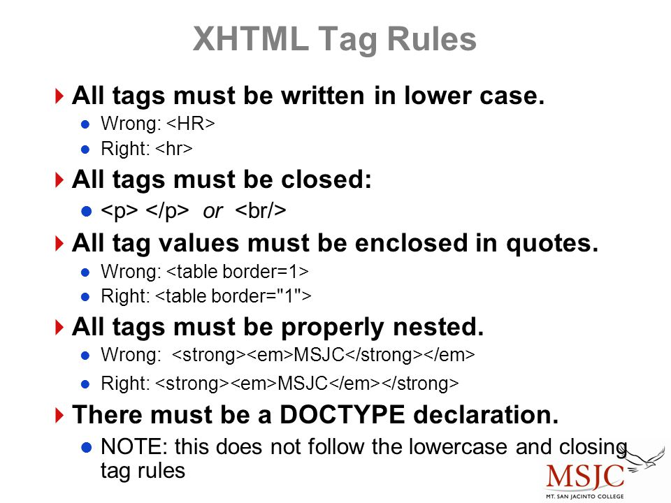 XHTML Tag Rules All tags must be written in lower case.