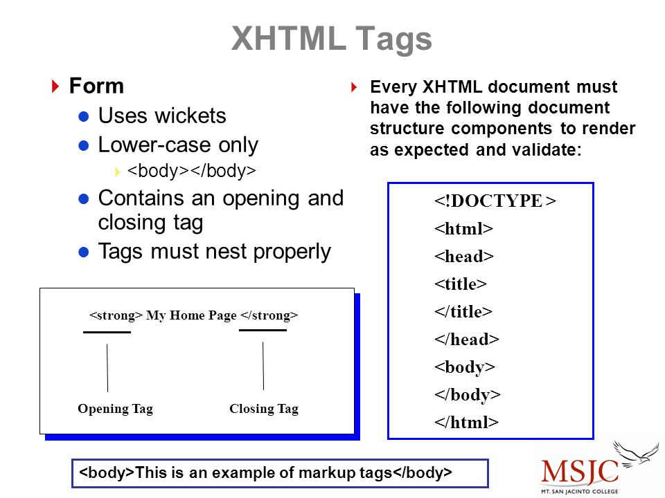 XHTML Tags Form Uses wickets Lower-case only