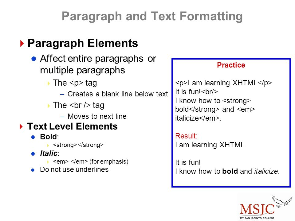 Paragraph and Text Formatting