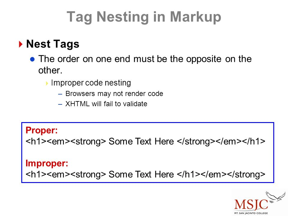 Tag Nesting in Markup Nest Tags